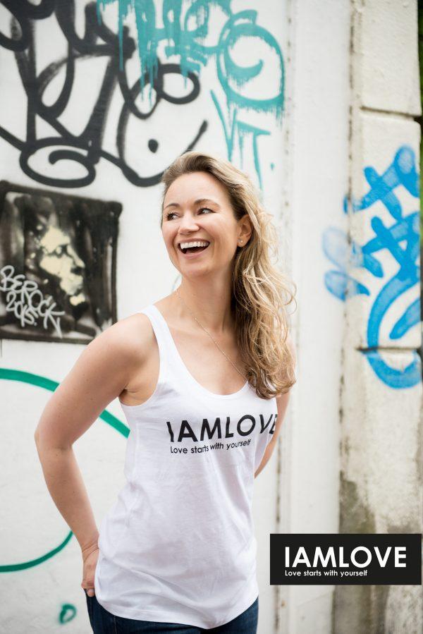 IAMLOVE tanktop white, women's white organic//fairtrade