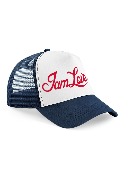 Blue Trucker cap by IAMLOVE Green trucker cap with embroidered IAMLOVE text