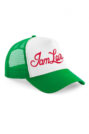 Green Trucker cap by IAMLOVE Green trucker cap with embroidered IAMLOVE text