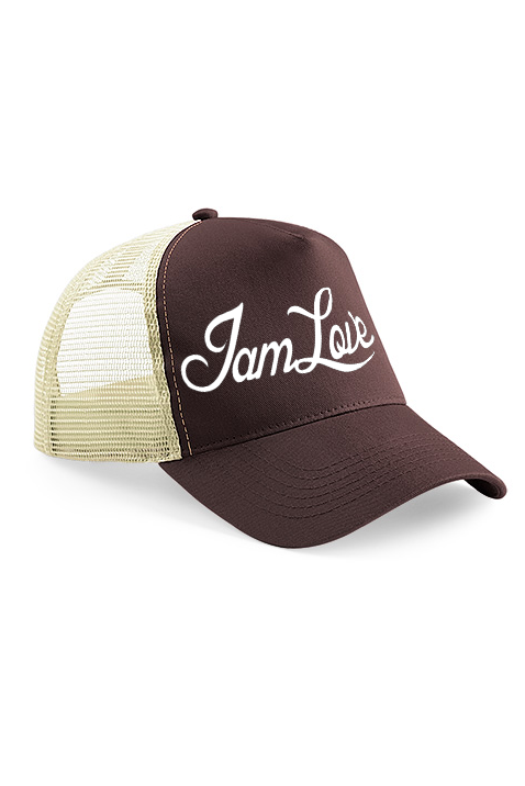 Brown Trucker cap by IAMLOVE brown trucker cap with embroidered IAMLOVE text