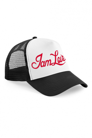 Trucker cap with embroidered IAMLOVE text