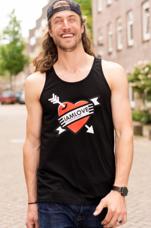 I love me tanktop by IAMLOVE ethical fashion vest with printed tattoo heart on front