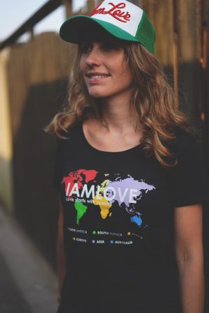 Fairshare IAMLOVE hello world tshirt with printed globe