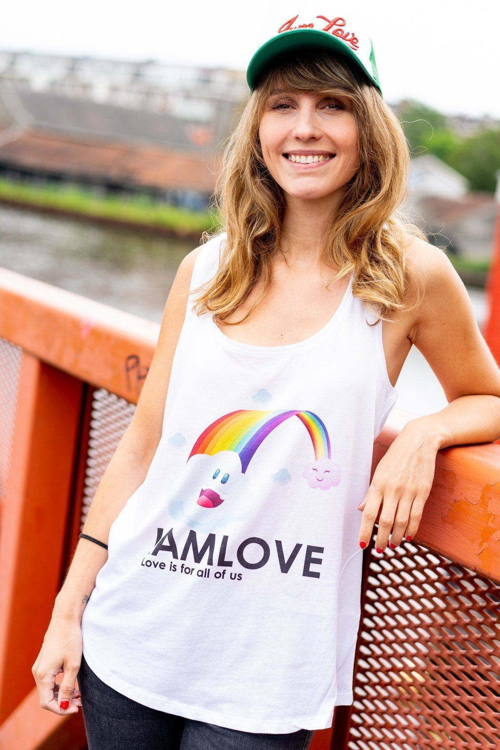 Happy Rainbow tanktop by IAMLOVE. Ethical fashion. Love is for all of us. Amsterdam Brand. Happy Pride