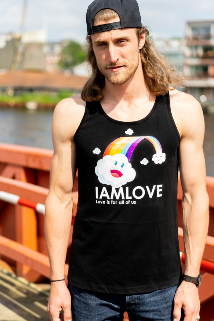 Happy Rainbow tanktop By IAMLOVE. Love Is for all of us. Happy Pride. Ethical fashion
