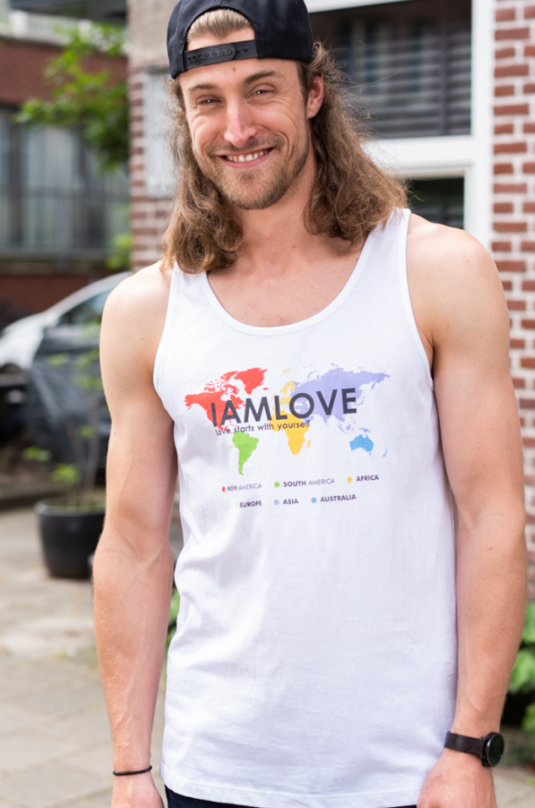 Hello World tanktop for men by IAMLOVE. Tanktop with printed globe on front