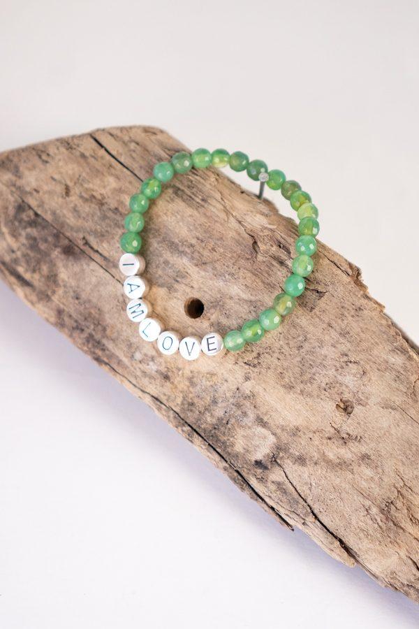 green agate bracelet for balance by IAMLOVE Groene agaat armband voor balans in je leven van IAMLOVE