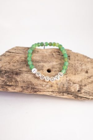 Green Agate balance bracelet by IAMLOVE. Groene Agaat armband voor balans van IAMLOVE