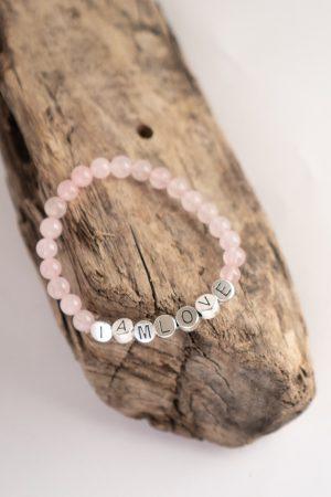 rose quartz self love bracelet by IAMLOVE Zelfliefde armband van IAMLOVE gemaakt van rozenkwartz