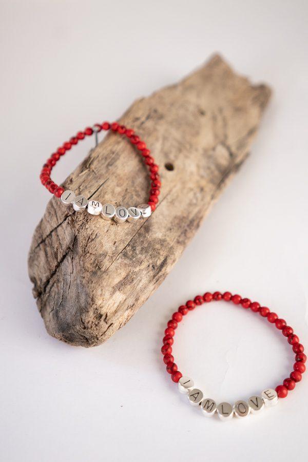passion bracelet van IAMLOVE gemaakt van rode natuurstenen kralen