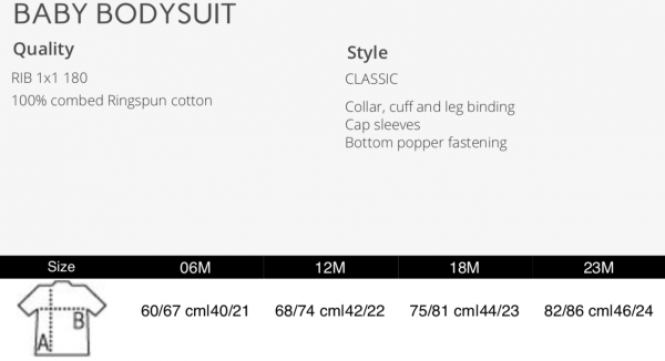 size chart IAMlOVE baby bodysuit